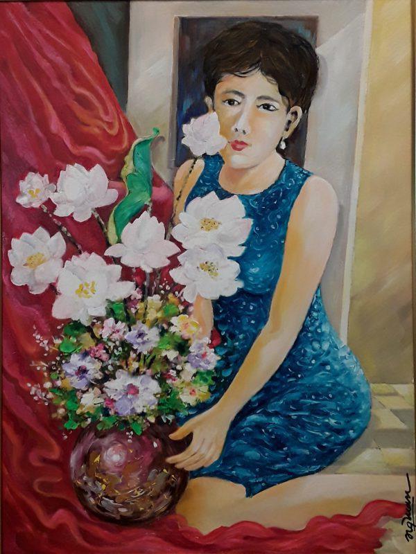 Thiếu Nữ bên Hoa Sen - Họa sĩ Nguyễn Quang Tuấn