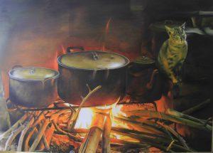 Tranh bếp lửa - Tranh sơn dầu