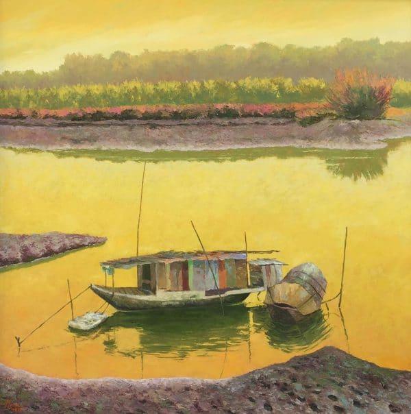 Tranh sơn dầu chiều ven sông