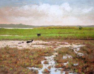Tranh sơn dầu trên cánh đồng