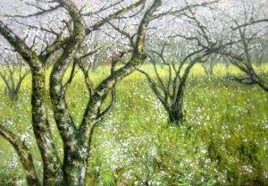 Tranh sơn dầu Vườn xuân