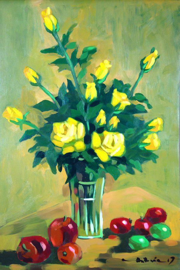 Tranh Tĩnh vật Hoa Hồng Vàng