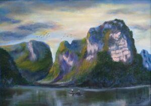 Tranh Phong cảnh buổi sáng ở Tràng An