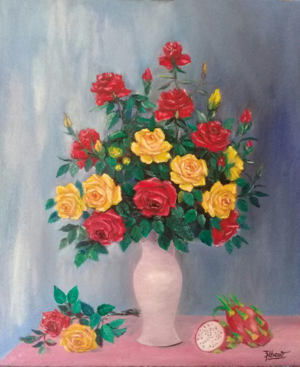 Tranh Tĩnh vật với hoa Hồng