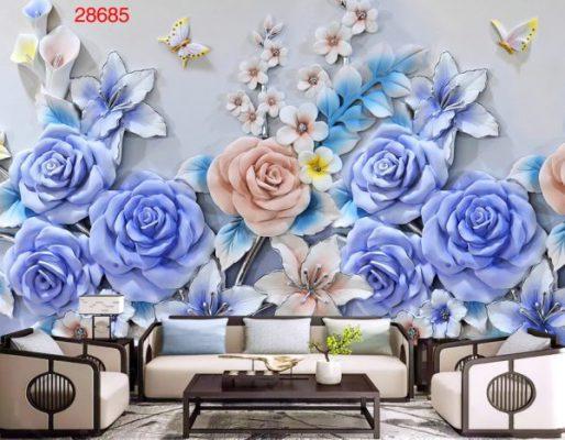 Tranh Dán Tường 3D Bức Tường Hoa