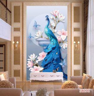 Tranh dán tường 3D chim công và hoa