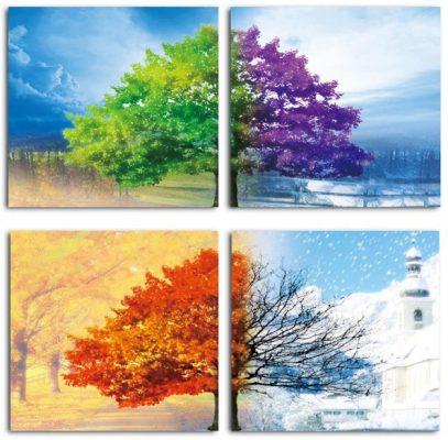 Tranh bốn mùa, tranh xuân hạ thu đông đẹp 1
