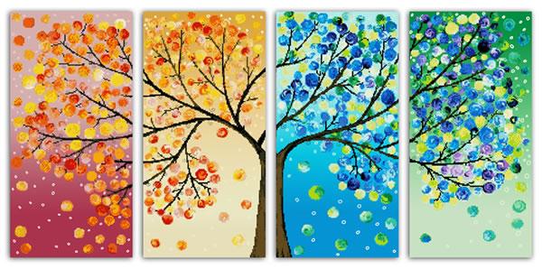 Tranh bốn mùa, tranh xuân hạ thu đông đẹp 2