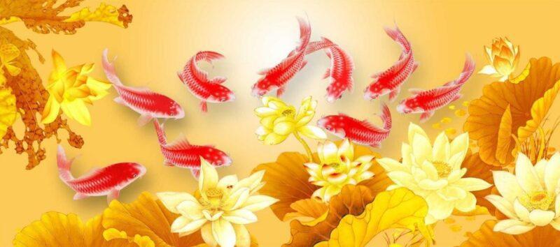 Tranh cá chép vượt vũ môn hóa rồng đẹp 1
