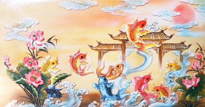 Tranh cá chép vượt vũ môn hóa rồng