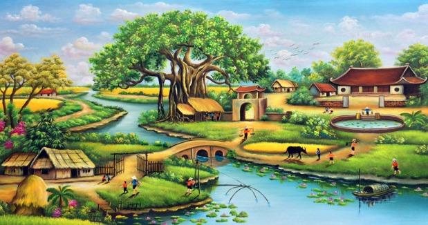 tranh cây đa bến nước sân đình