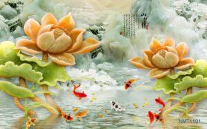 Tranh dán tường 3D cá chép và hoa