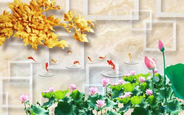 Tranh Dán Tường 3D Cá Trong Ao Sen