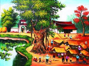 Tranh dán tường 3D cây đa đình làng