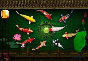Tranh dán tường 3D cửu ngư quần hội