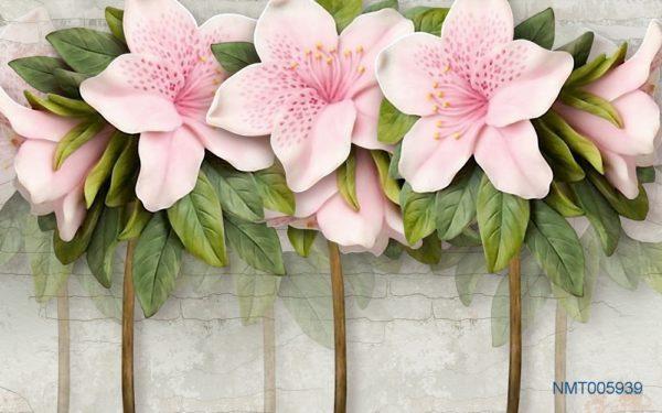 Tranh dán tường 3D hoa đẹp quyến rũ
