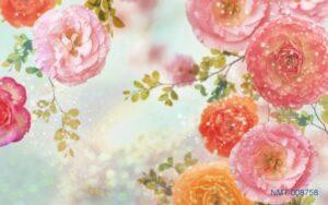 Tranh dán tường 3D hoa hồng ngọc
