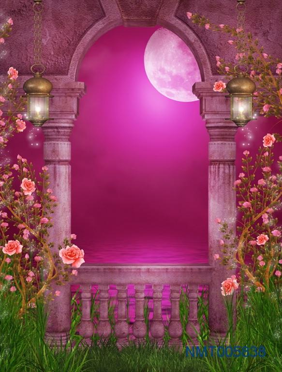 Tranh dán tường 3D hoa với trăng