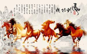 Tranh Dán Tường 3D Ngựa Mã Đáo Thành Công Tuyệt Đẹp