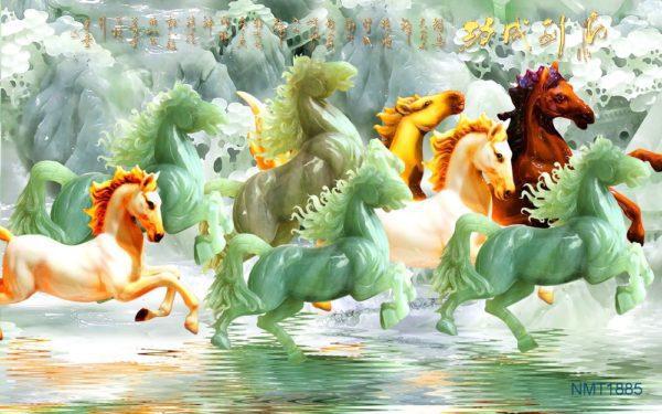 Tranh dán tường 3D ngựa ngọc