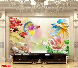 Tranh dán tường 3D phòng khách MS 20620