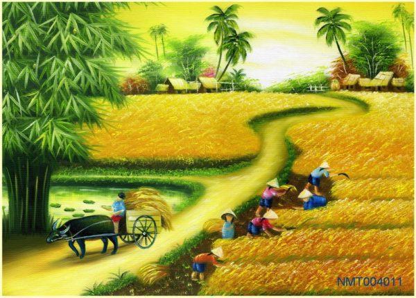 Tranh dán tường 3D quê hương mùa gặt