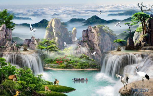 Tranh dán tường 3D sông núi ngàn năm