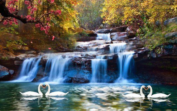 Tranh dán tường 3D thác nước đẹp