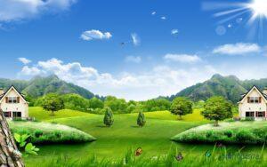 Tranh dán tường 3D Thiên nhiên xanh
