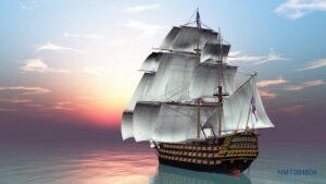 Tranh dán tường 3D thuyền đẹp huyền ảo