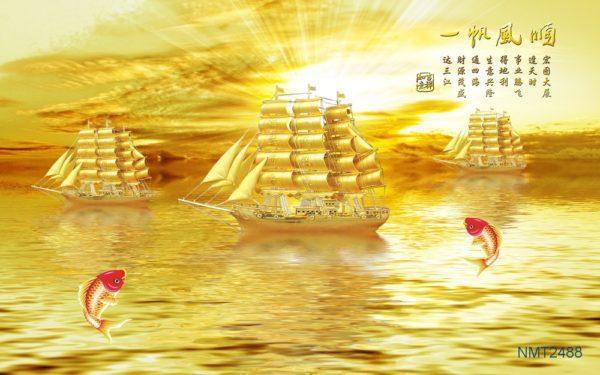 Tranh dán tường 3D thuyền vàng đẹp