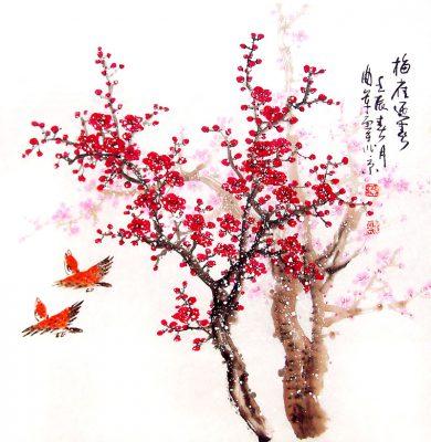Tranh sơn dầu hoa đào, hoa mai đẹp 2