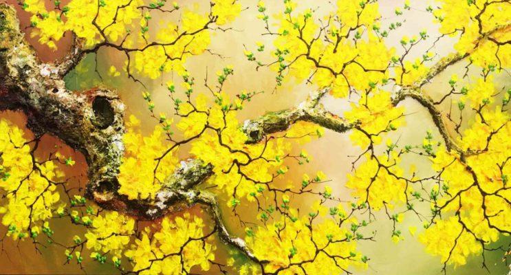 Tranh sơn dầu hoa đào, hoa mai đẹp