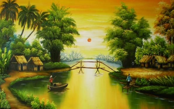 Tranh vẽ dòng sông quê hương Việt Nam đẹp