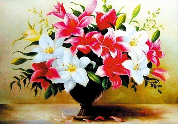 tranh vẽ hoa ly