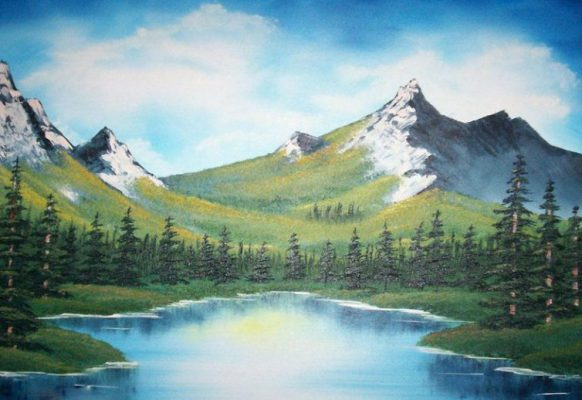 Tranh vẽ núi non hùng vĩ, phong cảnh thiên nhiên tuyệt đẹp