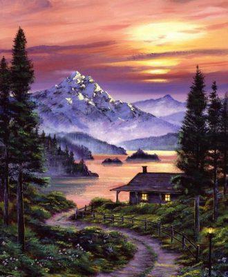 Tranh vẽ núi non hùng vĩ, phong cảnh thiên nhiên tuyệt đẹp 1