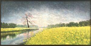 Tranh Mùa Hoa Cải Bên Sông