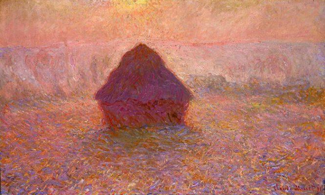 Claude Monet, 1891, Haystacks, Mặt trời trong sương mù