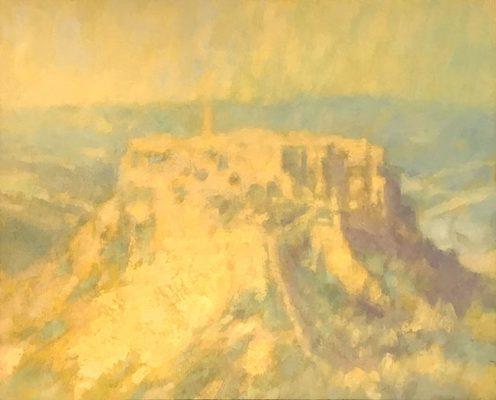 Mitchell Albala, Bagnoregio Under a Antique Light I, 2018, sơn dầu trên giấy