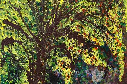 """Bức """"Mùa hoàng yến"""", chất liệu acrylic của Phạm Xuân Dung."""