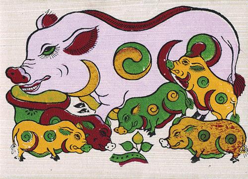 Con lợn - biểu tượng ấm no, sung túc trong tranh dân gian Việt Nam