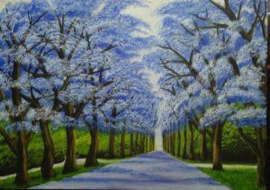 Tranh Con đường màu xanh