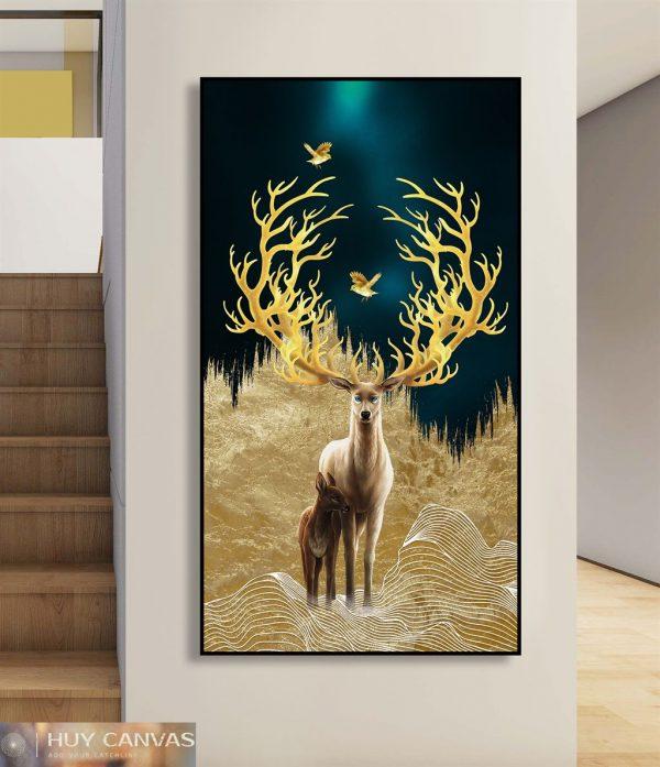 Tranh canvas con hươu