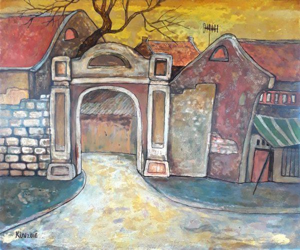 Tranh sơn mài Cổng Nhà Mình