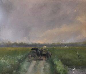 Tranh Chiều trên cánh đồng