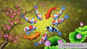 Tranh cá chép và hoa sen đẹp phong thủy hút lộc tài