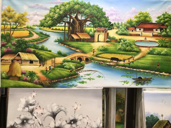 Tranh phong cảnh làng quê Việt Nam đẹp và thơ mộng