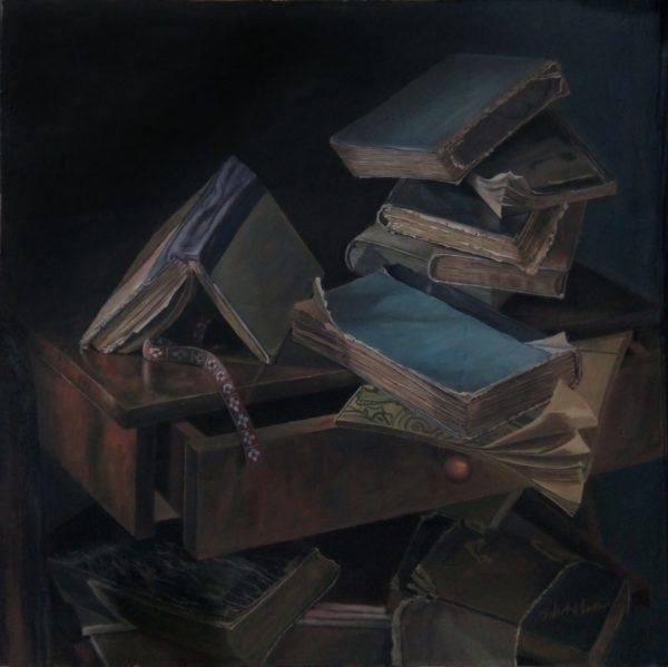 Tranh tĩnh vật sách cũ