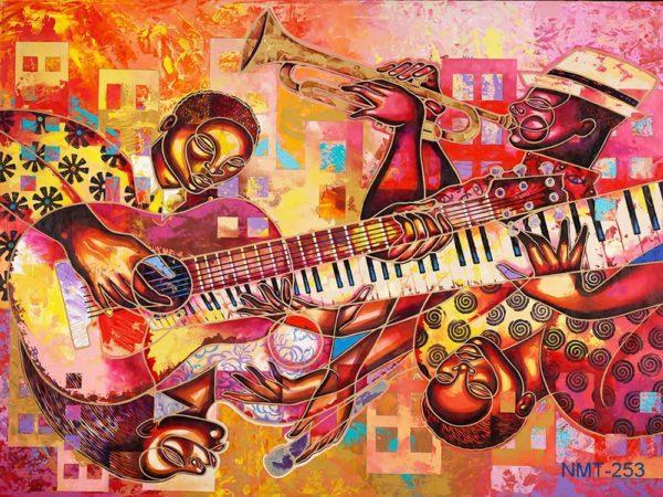 Tranh dán tường 3D âm nhạc và người nghệ sĩ